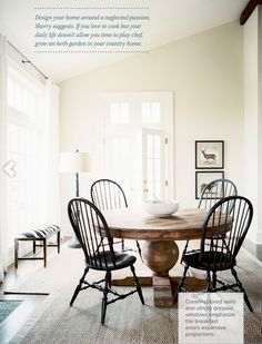 Winter Dining Room Gorgeous round pedestal dining table with windsor chairs