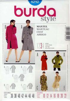 wykrój Burda - damskie płaszcze i kurtka rozmiar 36 38 40 40 42 44 46 48 wykrój w jęz.