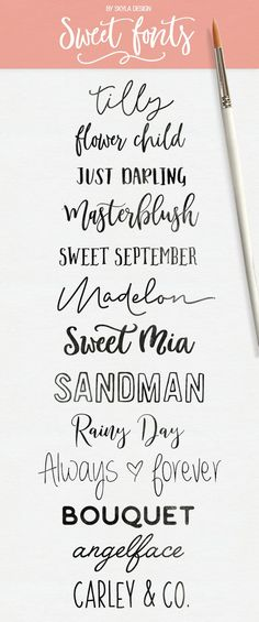 Sweet modern calligraphy fonts for crafting and silhouette, some are free