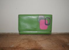 Vintage 80s Wallet Leather Wallet Green Pink by founditinatlanta, $22.00