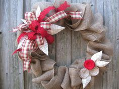 "22"" Cottage Christmas Burlap Wreath with Red Plaid Bow on Etsy, $65.00"