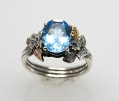 Blue Topaz Engagement Ring by FernandoJewelry on Etsy, $345.00