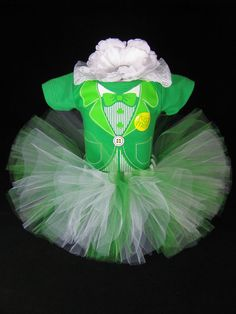1st St. Patrick's Day Baby Girls Outfit - Irish Bodysuit with Matching Tutu and Headband - First St. Patricks Day - Size Newborn - SP1301 on Etsy, $38.00