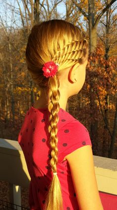 3 waterfall braids that becomes a 4 strand 3D braid.  The detail is stunning for something so simple.
