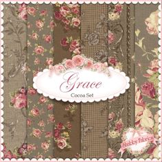 "Mary Rose Grace  6 FQ Set - Cocoa by Quilt Gate Fabrics: Mary Rose Grace is a shabby style collection from Quilt Gate Fabrics.  100% cotton.  This set contains 6 fat quarters, each measuring approximately 18"" x 21""."