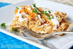 Mostly Homemade Mom: Ranch Chicken Enchilada Casserole {Crockpot} with corn tortillas Slow Cooker Recipes, Crockpot Recipes, Chicken Recipes, Cooking Recipes, Chicken Meals, Recipe Chicken, Meal Recipes, Yummy Recipes, Yummy Food