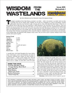 Wisdom from the Wastelands Issue #29: Mutualists I - Skirmisher Publishing | Wisdom from the Wastelands (Mutant Future) | DriveThruRPG.com