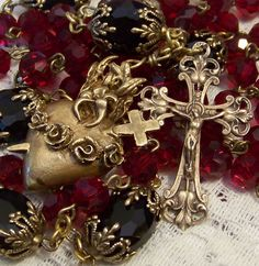 Rosary ~ Sacred Heart & Immaculate Heart ~ Our Lady Mt Carmel ~  Bronze