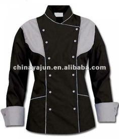 Black and gery color chef coat chaf jacket uniform for ladies