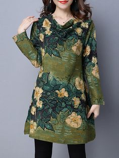 Printed Floral Casual Long Sleeve Dress