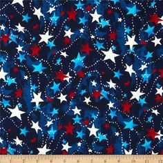 Made in the USA Stars Red, White, Blue from @fabricdotcom  This cotton print fabric is made in the USA and perfect for quilting, apparel and home decor accents. Colors include red, white and blue.
