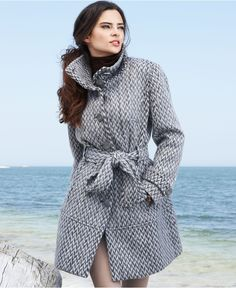 Kenneth Cole Reaction Coat, Patterned Wool-Blend Trench Coat - Womens Coats - Macy's