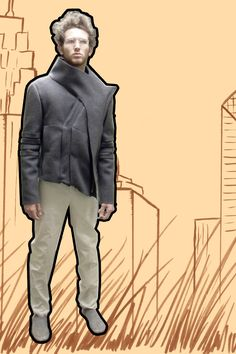 WIP: Men's Overlap Jacket | 2010 | Wool, brass zippers | Garments by Andrea Creighton | Photo and background by Andrea Creighton Zippers, Winter Jackets, Brass, Wool, Men, Fashion, Moda, Winter Vest Outfits, La Mode