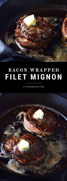 Pan-seared filet mignon wrapped in bacon and topped with truffle butter.