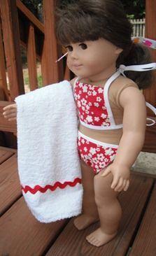18 inch Doll Bikini. Free pattern and tutorial.