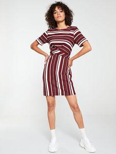 V By Very Cross Front Dress - Stripe, Stripe, Size Women - Tripe - 24 Color Stripes, Black Stripes, High Leg Boots, Long Toes, Body Measurements, Striped Dress, Snug, Dress Outfits, Latest Trends