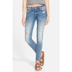 Junior Vigoss Distressed Skinny Jeans ($72) ❤ liked on Polyvore featuring jeans, light wash, ripped skinny jeans, skinny jeans, light wash destroyed skinny jeans, destroyed skinny jeans and torn skinny jeans