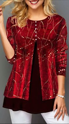 Womens Casual Tops Hot Stamping Faux Two Piece Sequin Detail T Shirt Trendy Tops For Women, Unique Fashion, Womens Fashion, Plus Size Dresses, Long Sleeve Sweater, Shirt Style, Christmas Snowman, Christmas Tops, Christmas Shirts