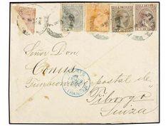 CUBA. Ed.124/27 y 128f. 1893. HABANA a SUIZA. 1, 2, 2 1/2, 5 ctvos. y sello de 10 ctvos. rosa bisectado para servir como 5 ctvos. Extraordin...