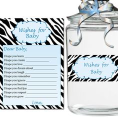 Printable Zebra Wishes for Baby and Jar Label - Baby Shower Boy Blue ...