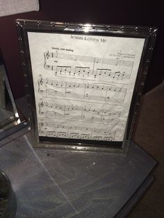 Framed sheet music. This is the original copy of the first song I learned on the piano.