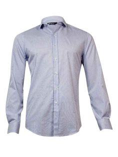 Bar III Men's Slim-Fit Dobby Square Check Dress Shirt (Blue, 15/34x35)