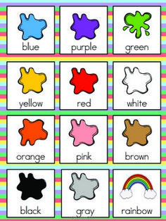 Color Vocabulary Cards by The Tutu Teacher English Activities For Kids, Learning English For Kids, English Worksheets For Kids, English Lessons For Kids, Kids English, Preschool Learning Activities, Kids Learning, English Class, Preschool Charts