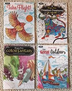 """Lot Of 4 Brand New Animal, Outdoors & Fantasy themed Adult Coloring Books.   1 book is high quality """"things with wings"""" themed (hummingbirds, birds, butterflies, dragonflies, etc),  1 book is high quality fantasy """"designs to enchant"""" themed (mermaids, fairies, dragons, castles, architecture, etc.),  1 book is high quality animal themed (butterfly, birds, exotic animals, etc.), and  1 book is high quality Great Outdoors """"nature lovers"""" (waterfall, forest, farm, fish, sea shell, lighthouse,etc"""