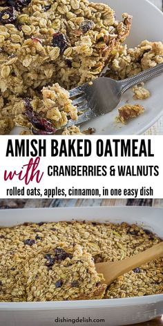Amish Baked Oatmeal with Cranberries & Walnuts is one easy breakfast casserole to whip up and serve your family. Rich and warm spices tender apples cranberries and nuts for a nice crunch. If you like baked oatmeal you will enjoy this Amish baked oatmeal. Brunch Recipes, Breakfast Recipes, Dessert Recipes, Breakfast Ideas, Best Gluten Free Recipes, Real Food Recipes, Cooking Recipes, Amish Recipes, Amish Baked Oatmeal