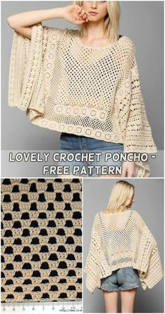Free Crochet Poncho Patterns Casablanca Summer Poncho Crochet Pattern Mama In A Stitch. Free Crochet Poncho Patterns The Montana Poncho Crochet Pattern Stitch Hustle. Crochet Scarves, Crochet Shawl, Crochet Clothes, Crochet Dresses, Crochet Sweaters, Poncho Knitting Patterns, Knitted Poncho, Crochet Patterns, Crochet Designs