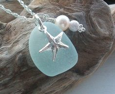 Scottish seaglass necklace with silver and freshwater pearl - love!