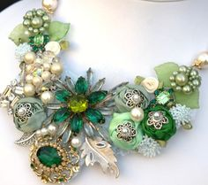 .green brooches necklace