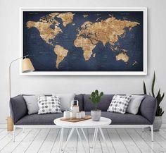 World map push pin, Large world map, Abstract World Map, Travel Gift, Wall Decor Wanderlust Worldmap poster print, decorative push pins (L2)