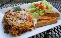 """""""That's Italian"""" - Italian Feast - Pasta, Easy Cheesy Herbed Baguette Bread & Salad - Low Carb/Wheat/Grain Free) / Gourmet Girl Cooks"""