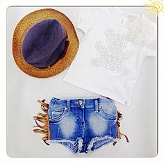Летний look для девочки: джинсовые шорты с бахромой, футболка - все Microbe, шляпа Grevi, размеры в наличии !!!