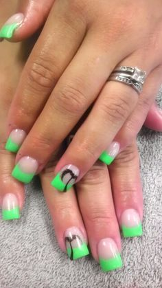 Lime green & black colored acrylic nails Colored Acrylic Nails, Fan 2, Paws And Claws, Hello Ladies, I Feel Pretty, Green Nails, Pedi, Nails Inspiration, Hair And Nails
