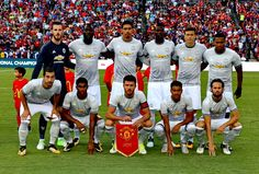 The Manchester United team line up ahead of the International Champions Cup 2017 preseason friendly match between Manchester United and Barcelona at. Barcelona Vs Manchester United, Manchester United Team, International Champions Cup, United Way, Man United, Neymar, Champions League, Team Building, Manchester United