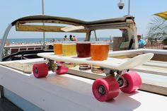 LOVE this skateboard beer sampler. I think I want to make one.