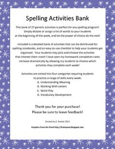 27 Generic Spelling Activities for ANY Word List - Perfect for any spelling program!