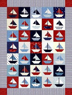 Boat quilt in red white blue