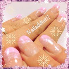 Nail - nail art - pink - gel nails - long - color gel - glitters