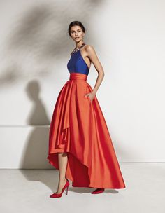 Enchanting Satin Halter Neckline Backless Hi-lo A-line Prom Dress With Beadings & Pockets