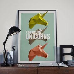 Run free like unicorns DIGITAL POSTER A3 by StudiousCrafts