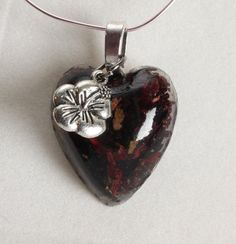 Hibiscus petals necklace in Heart shaped Resin Pendant by GreyGyrl, $14.00