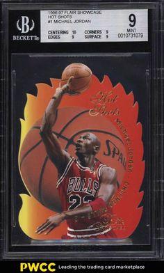 3691c1d387b 1996 Flair Showcase Hot Shots Die-Cut Michael Jordan #1 BGS 9 MINT (