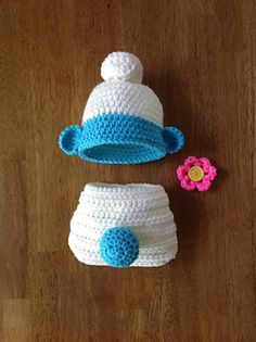 Ravelry: Newborn Hat and Diaper Set pattern by Terree Lowe Crochet Baby Props, Crochet Baby Costumes, Crochet Photo Props, Crochet Baby Clothes, Newborn Crochet, Crochet For Kids, Crochet Outfits, Crochet Crafts, Crochet Projects