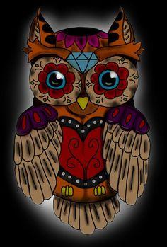 sugar-skull-owl-niklas-bates.jpg (608×900)