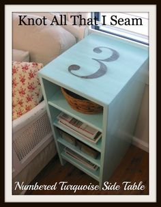 Restyle Relove: Turquoise Numbered Side Table - Redo of a Redo!