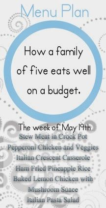A May family meal plan with 7 meals that will keeps families satisfied and under budget!