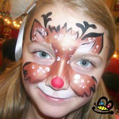 Reindeer more reindeer ideas red face paintings holiday facepaint face